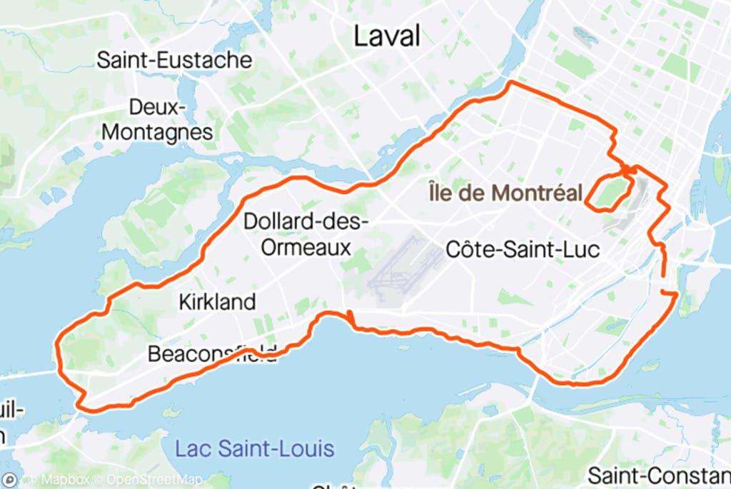 Carte du trajet - Tour de l'Île de Montréal