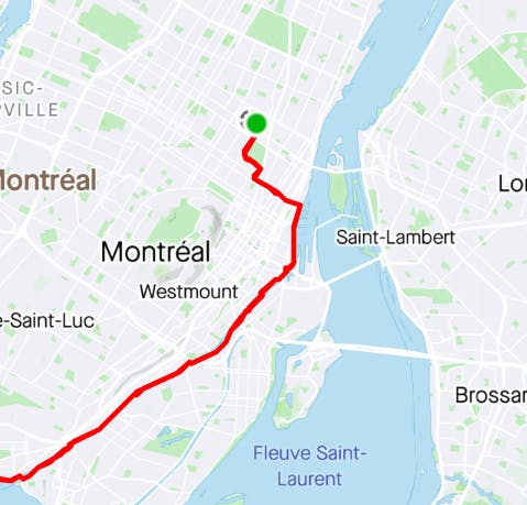 Plan du circuit pour le tour à vélo sur le canal Lachine